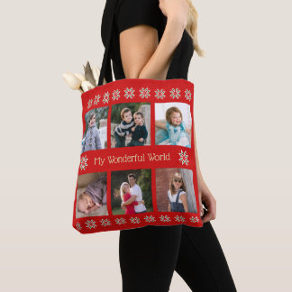 Custom text six photos winter flowers red tote bag