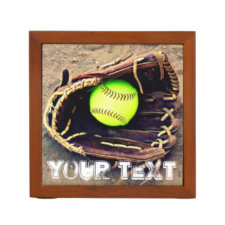 Custom Text Softball Coach Desktop Organizer