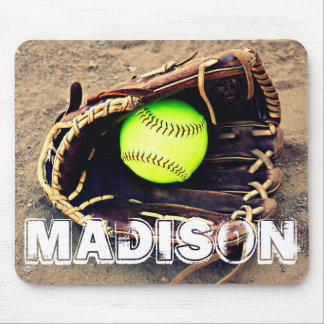 Custom Text Softball Glove and Ball Mousepad