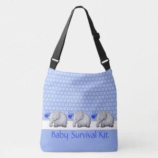 Custom Text Survival Kit Baby Elephants Nursery Crossbody Bag