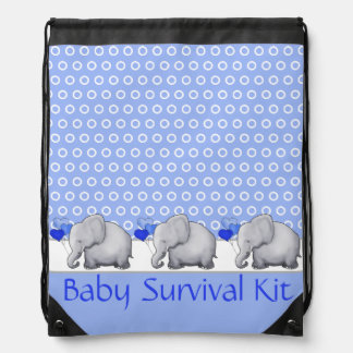 Custom Text Survival Kit Baby Elephants Nursery Drawstring Bag