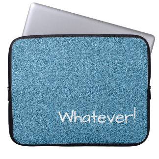Custom text teal faux glitter laptop sleeve