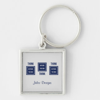 Custom text think outside the box navy business Silver-Colored square key ring