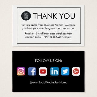 Custom Thank You For Your Order Business Cards