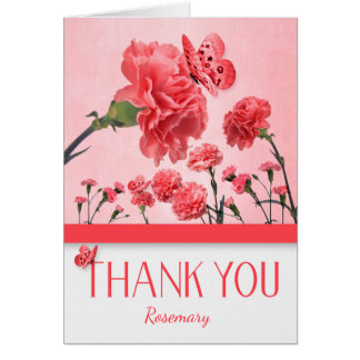 Custom Thank You Pink Carnations with Butterflies Card