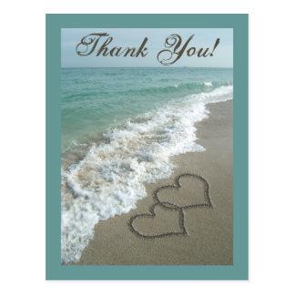 Custom Thank You Postcard- Sand Hearts/Aqua Beach