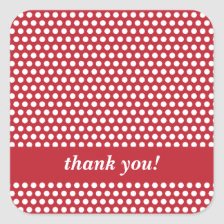 Custom thank you red white polka dots stickers