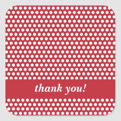 Custom thank you red & white polka dots stickers