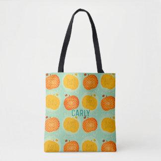 Custom Thanksgiving Autumn Pumpkins Print Tote Bag