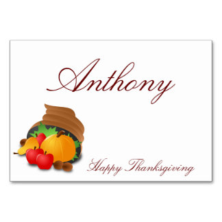 Custom Thanksgiving Table Cards Cornucopia