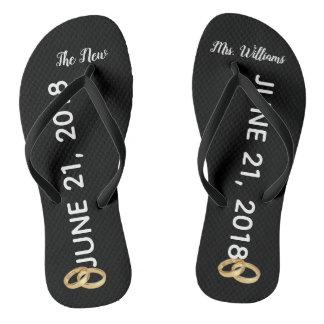Custom The New Mrs. Gold Rings Bridal Flip Flops