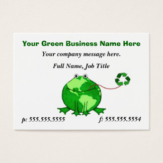 Custom Think Green Earth Frog Business Card