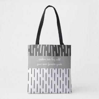 custom tote bag add a quote grey and white design