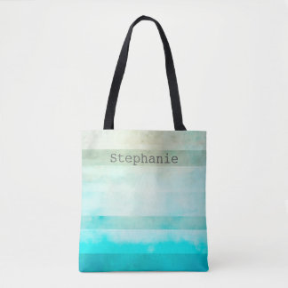 custom tote bag add your text shabby chic stripes