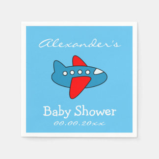 Custom toy airplane baby shower napkins for boy disposable napkins
