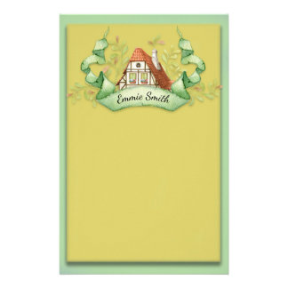 Custom Traditional German House on Green Yellow Stationery