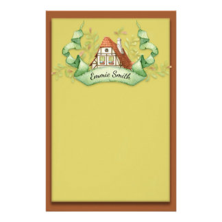 Custom Traditional German House on Yellow Stationery