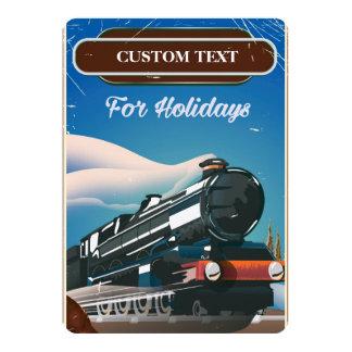 Custom Train travel poster 13 Cm X 18 Cm Invitation Card