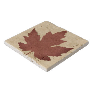 Custom Travertine Stone Trivet with Maple Leaf