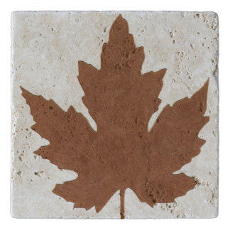 Custom Travertine Stone Trivet with Maple Leaf on