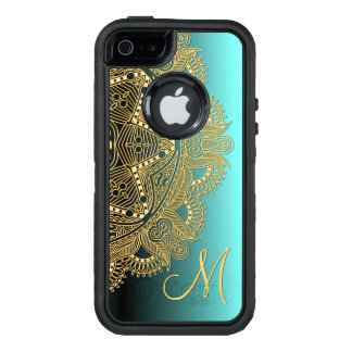 Custom Trendy Faux Shiny Gold Mandala Pattern OtterBox Defender iPhone Case