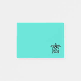 Custom Tribal Mask Sea Turtle Turquoise Post-it Notes