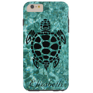 Custom Tribal Sea Turtle Aqua Blue Tough iPhone 6 Plus Case