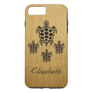 Custom Tribal Sea Turtle Faux Wood iPhone 8 Plus/7 Plus Case