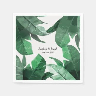 Custom Tropical palm print wedding napkins Disposable Serviette