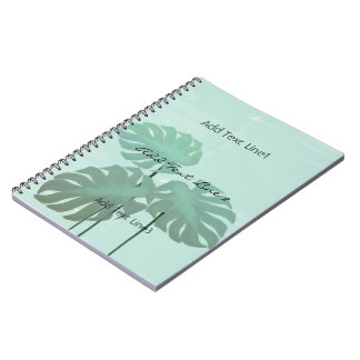 Custom Tropical  Watercolor Leaves Mint Notebook
