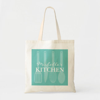 Custom turquoise kitchen cooking utensils tote bag