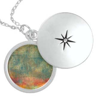 Custom Turquoise Textured Southwestern Sunset Locket Necklace