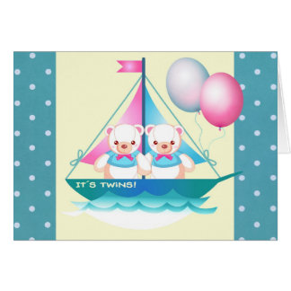Custom Twin Boys Birth Announcement Cards
