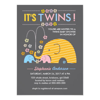 Custom twins baby elephant and flower shower card