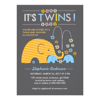 Custom twins baby elephant and flower shower personalized invites