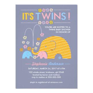 Custom twins baby elephant and flower shower custom announcements