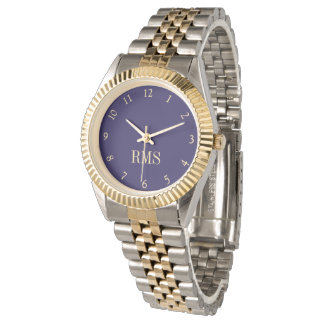 Custom Two-Tone Monogram Initials Bracelet Watch