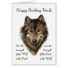 Custom Uncle Birthday -Wolf and Pack Quote Card