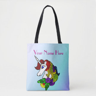 Custom Unicorn Tote Bag  Rainbow Unicorn