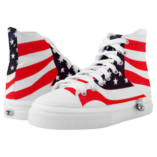 Custom United States Flag Zipz High Top Shoes