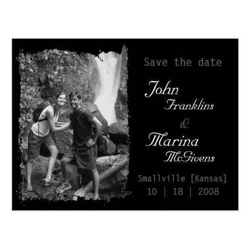 Custom Vertical Frame :Save the Date Torn Edges Post Cards