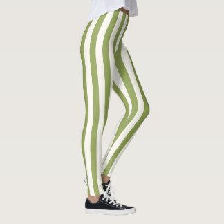 Custom Vertical Green Strip leggings