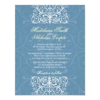 Custom vintage air force blue isabelline wedding 11 cm x 14 cm invitation card