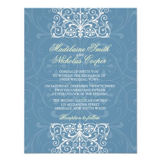 Custom vintage air force blue isabelline wedding personalized invitation