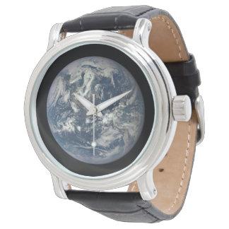 Custom vintage black Leather Wristwatch