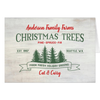 Custom Vintage Christmas Tree Farm Card