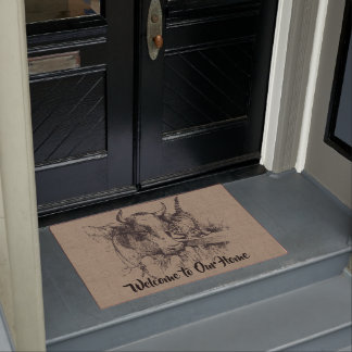 Custom Vintage Cow and Cat - Country Farm and Pets Doormat