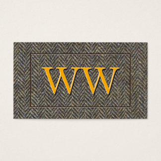Custom Vintage Herringbone Tweed and Gold Monogram Business Card