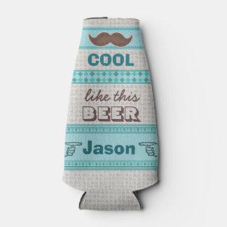 Custom Vintage Hipster Mustache Bottle Cooler