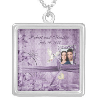 Custom Vintage Lavender Floral Photo Wedding Gift Silver Plated Necklace